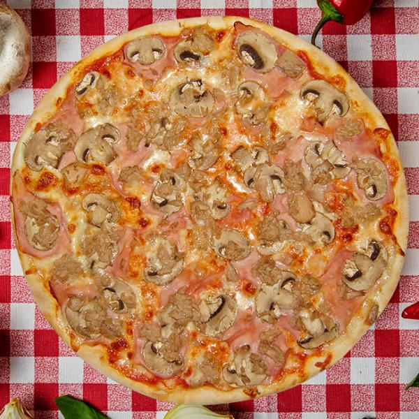 Pizza Prosciutto Funghi e Tono
